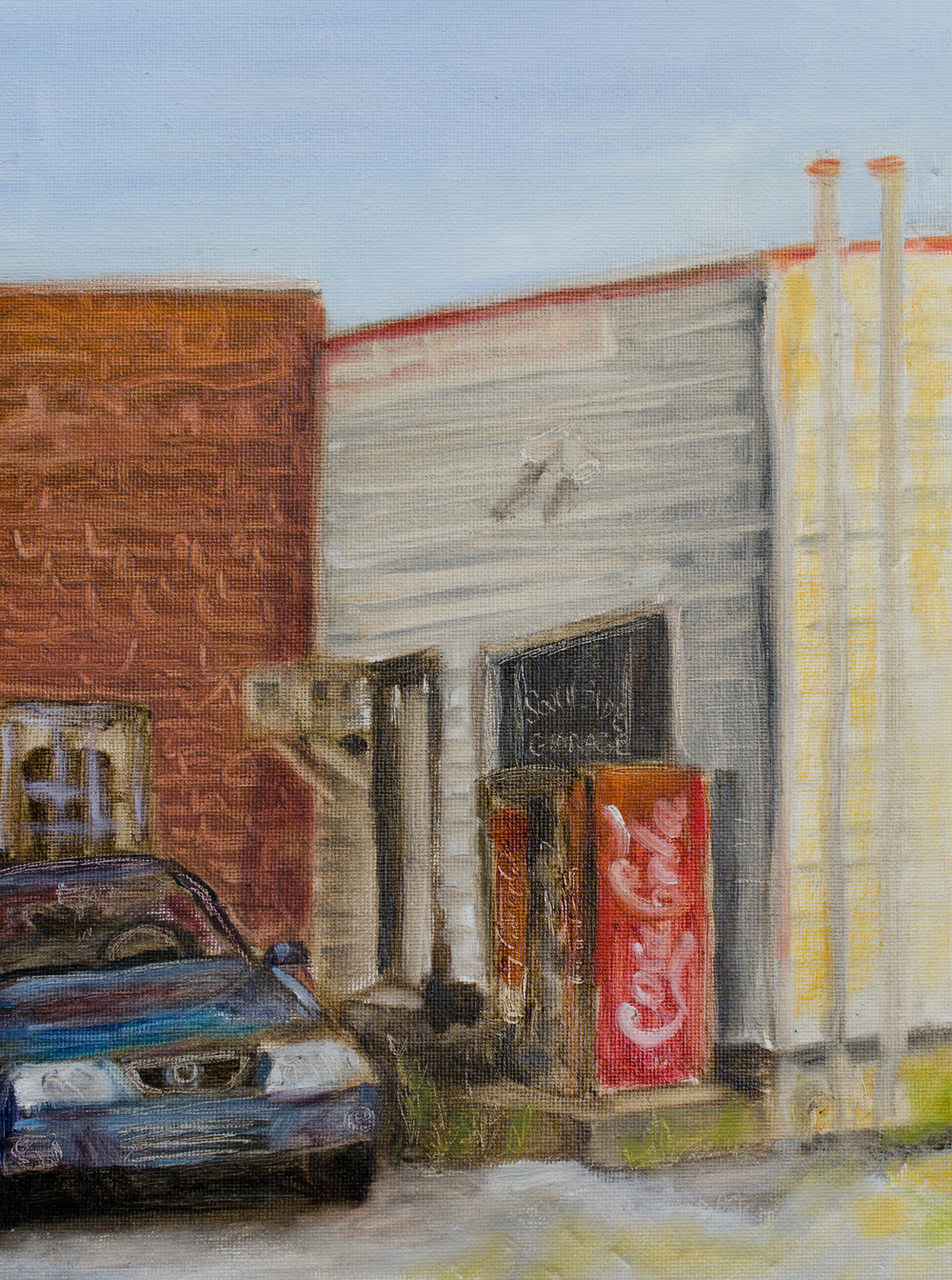 """South Side Garage"" oil on canvas-paper, 9x12'' by Lauren Kindle"