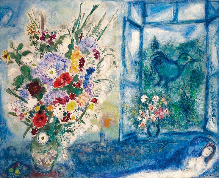 Bouquet près de la fenêtre  by Chagall
