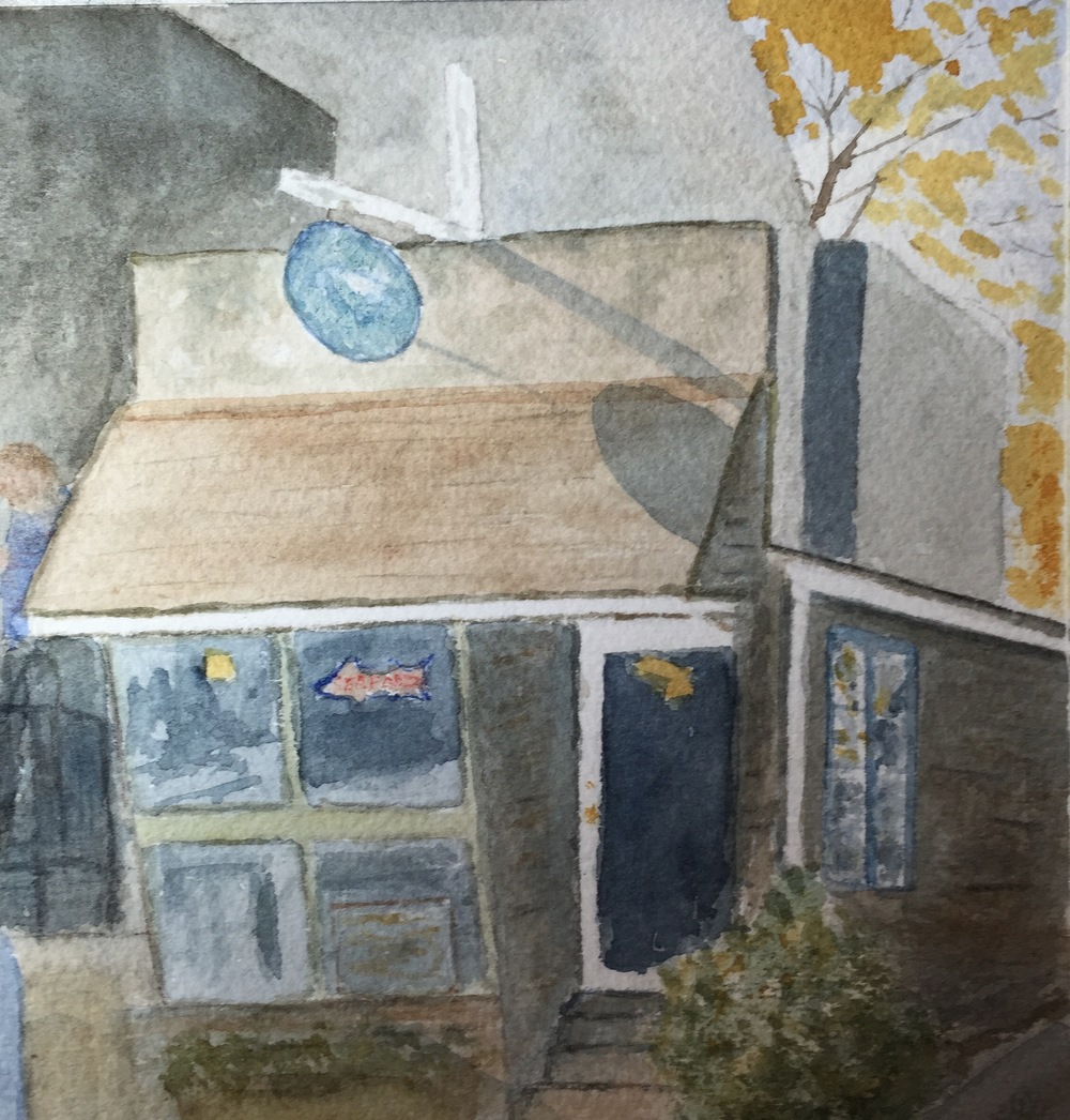 Watercolor painting of Scully's Seafood, by Kate Brandes.