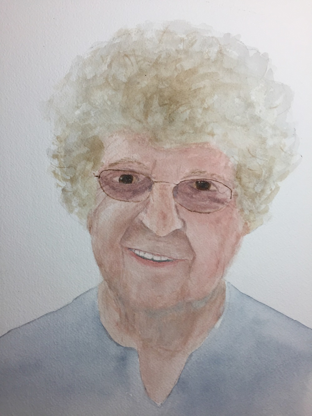 Kate's watercolor portrait of Marge.