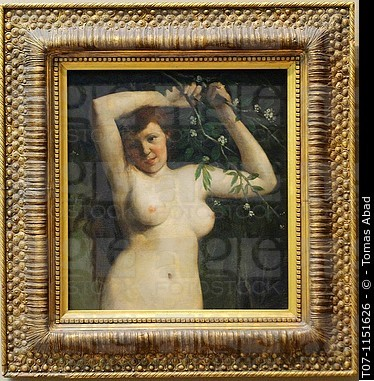 """Nude With Flowering Branch"" by Courbet.  Sorry, I couldn't find a better image."
