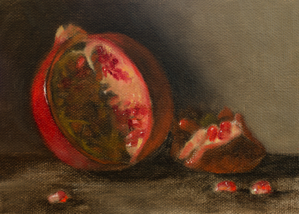 """Pomegranate"" by Lauren Kindle, oil on canvas, 5x7''"