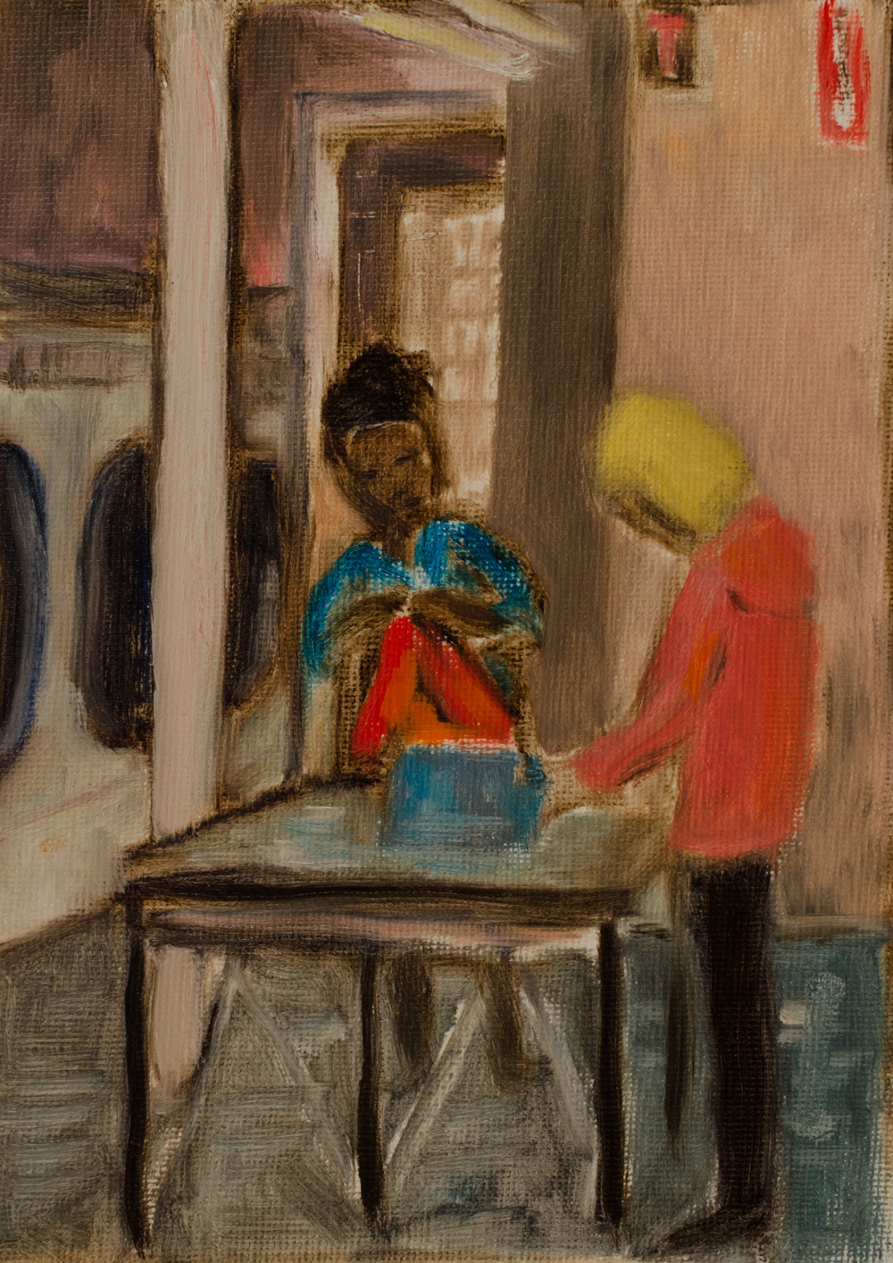 """Women Quietly Doing Laundry in South Easton"" by Lauren Kindle oil on canvas, 5x7''"