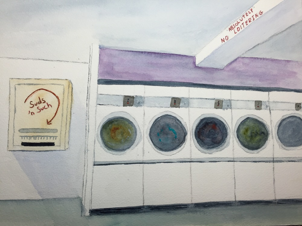 Kate's watercolor painting of the inside of Coin Laundry.
