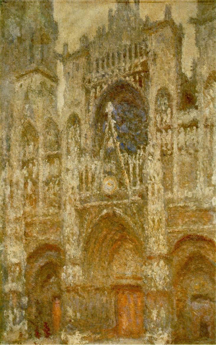 La cathédrale de Rouen, le portail, temps gris (Rouen Cathedral, the West Portal, Dull Weather) Musee d'Orsay, Paris, painted 1892