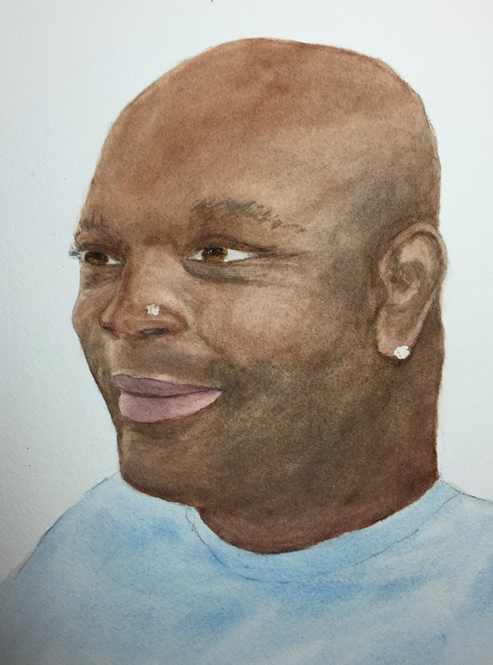 Kate's watercolor portrait of Jason.