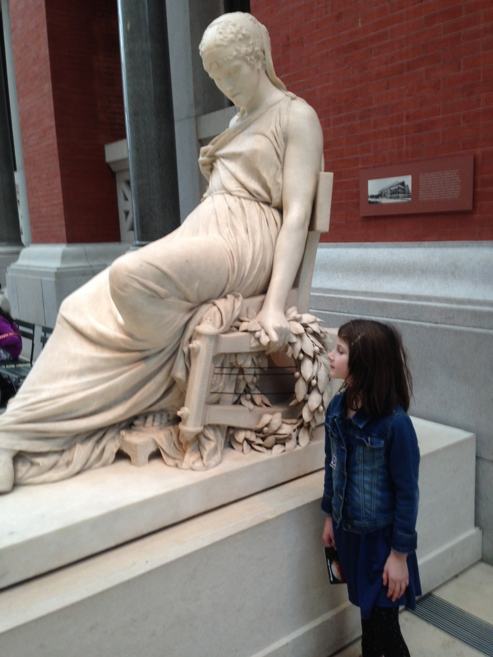 "Nell was intrigued by this marble statue of the poet, ""Sappho,"" by Comte Prosper D'Epinay.  (1895)"