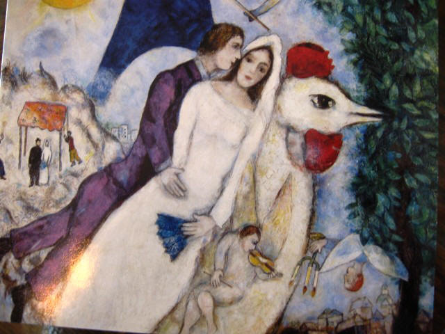 """Fiancees of the Eiffel Tower"" by Marc Chagall"