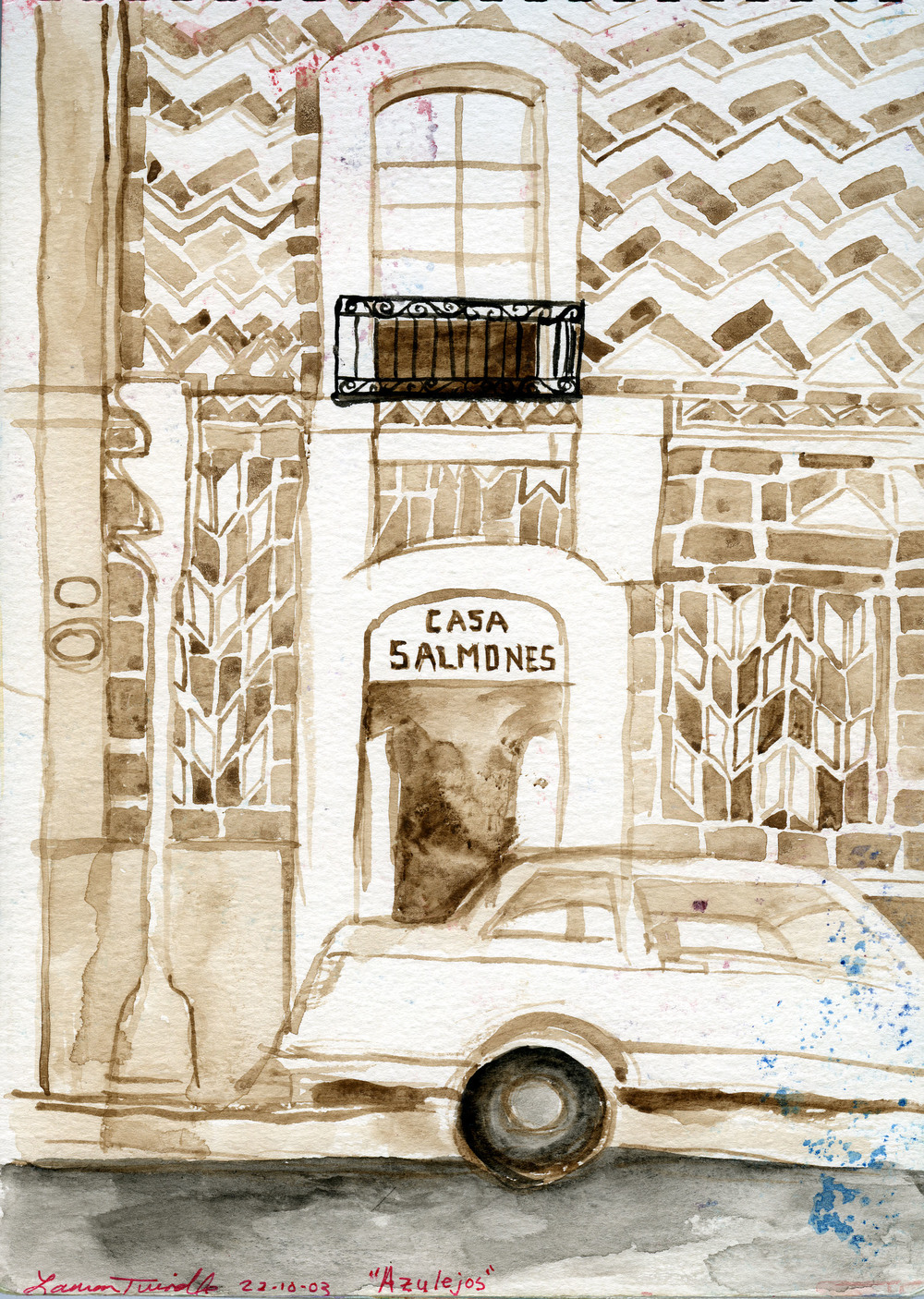 """Oct. 23, 2003 """"Azulejos,"""" the beautiful hand-painted tiles covering the buildings of Puebla."""