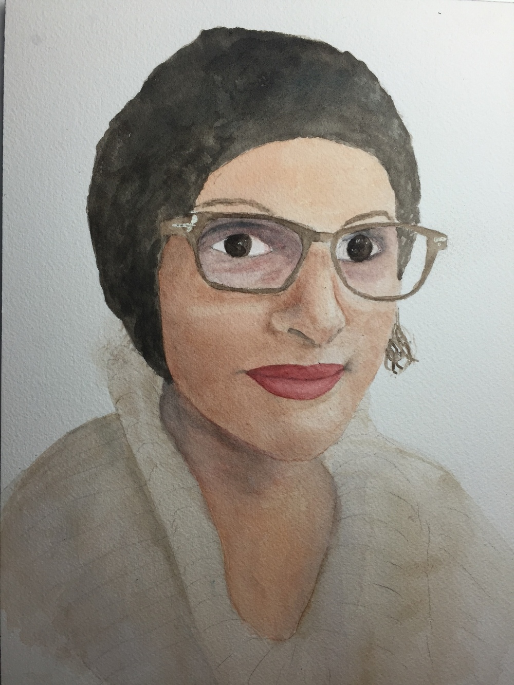 Kate's watercolor portrait of Kathlene.