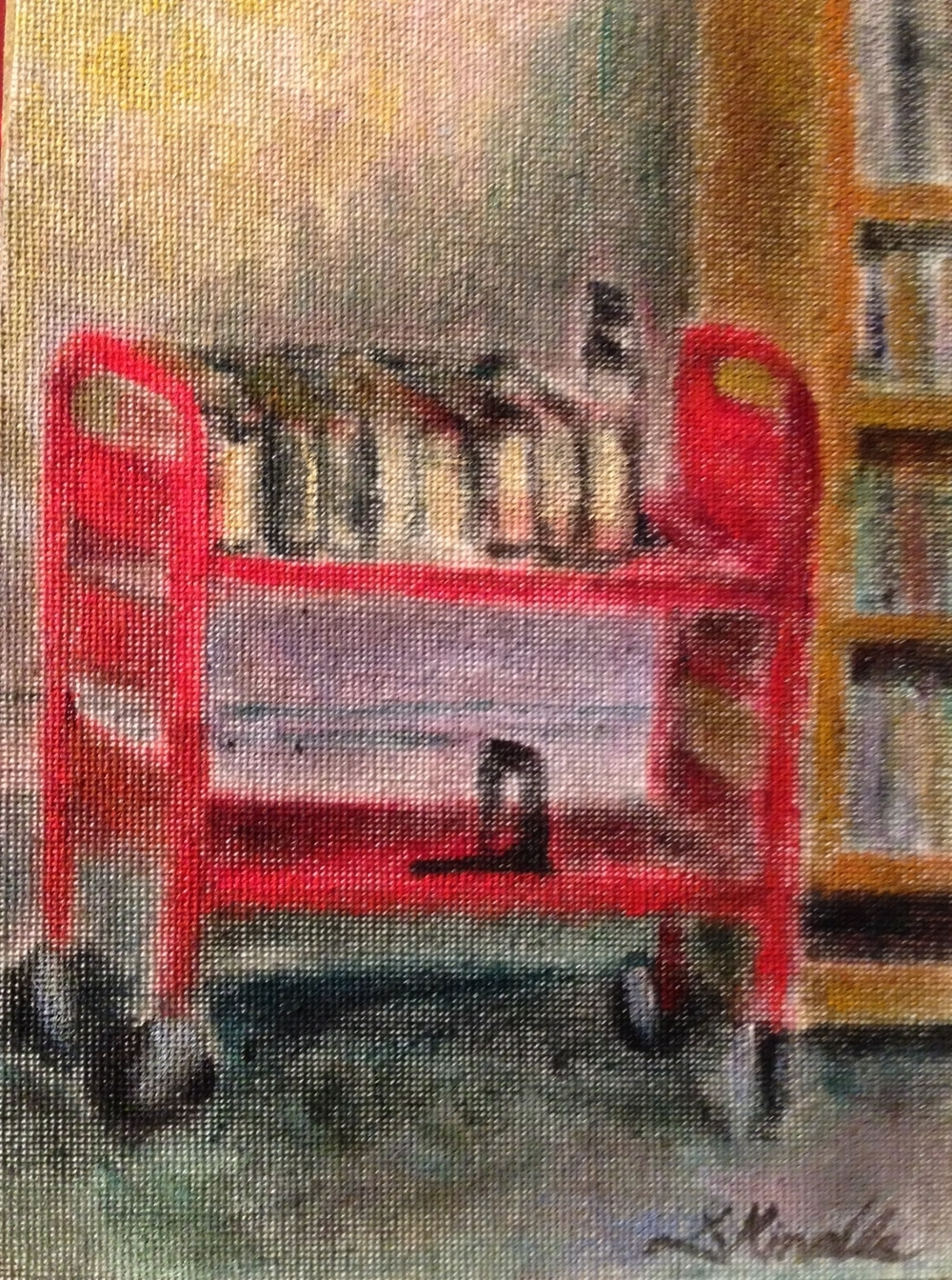 """Little Red Library Cart"" oil on canvas, 5x7'' (by Lauren)"