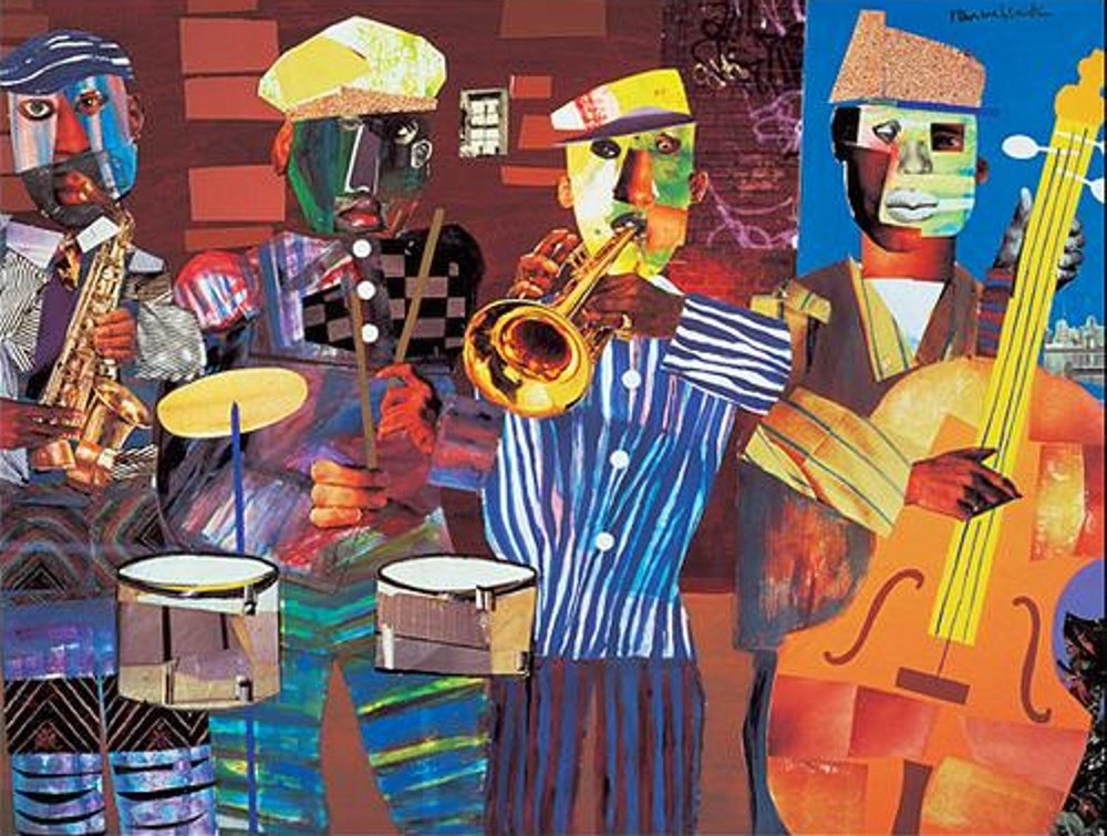 A collage by the artist Romare Bearden.