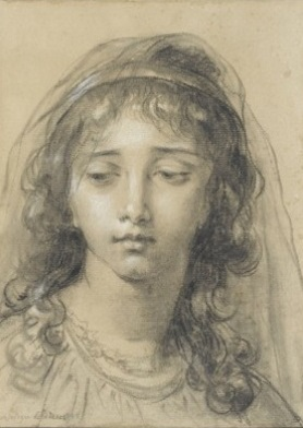 Head of a Young Girl, charcoal on paper