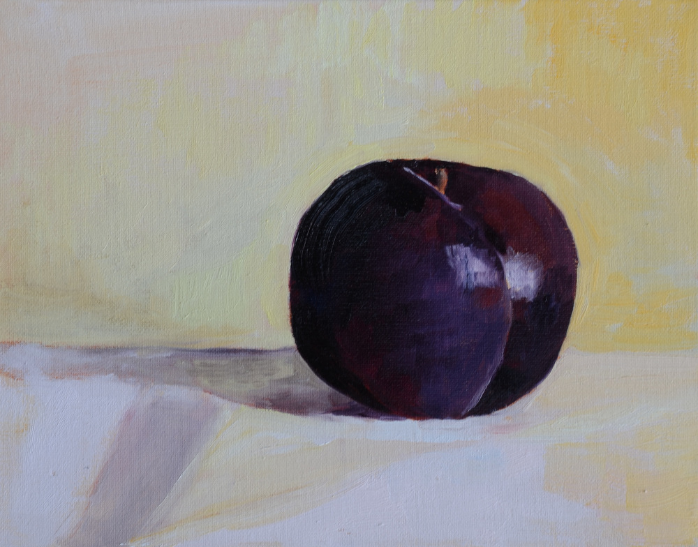 """One Plum"" oil on canvas, 11x14''  My first painting homework assignment from Graham."