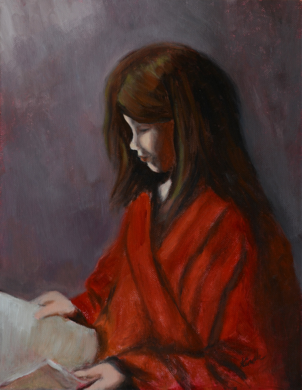 """Nell Reading"" a portrait of my daughter that I did in November, 2014, when she stayed home from school sick one day"