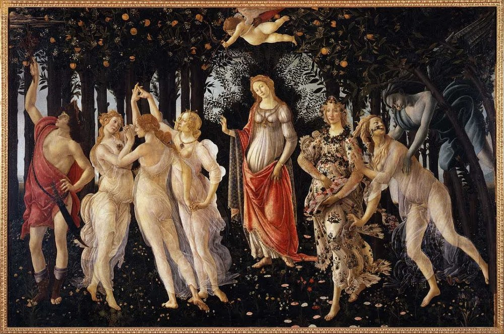 """Primavera"" by Sandro Botticelli, 6' 8"" x 10'4""  tempera on panel (1477-1482)"