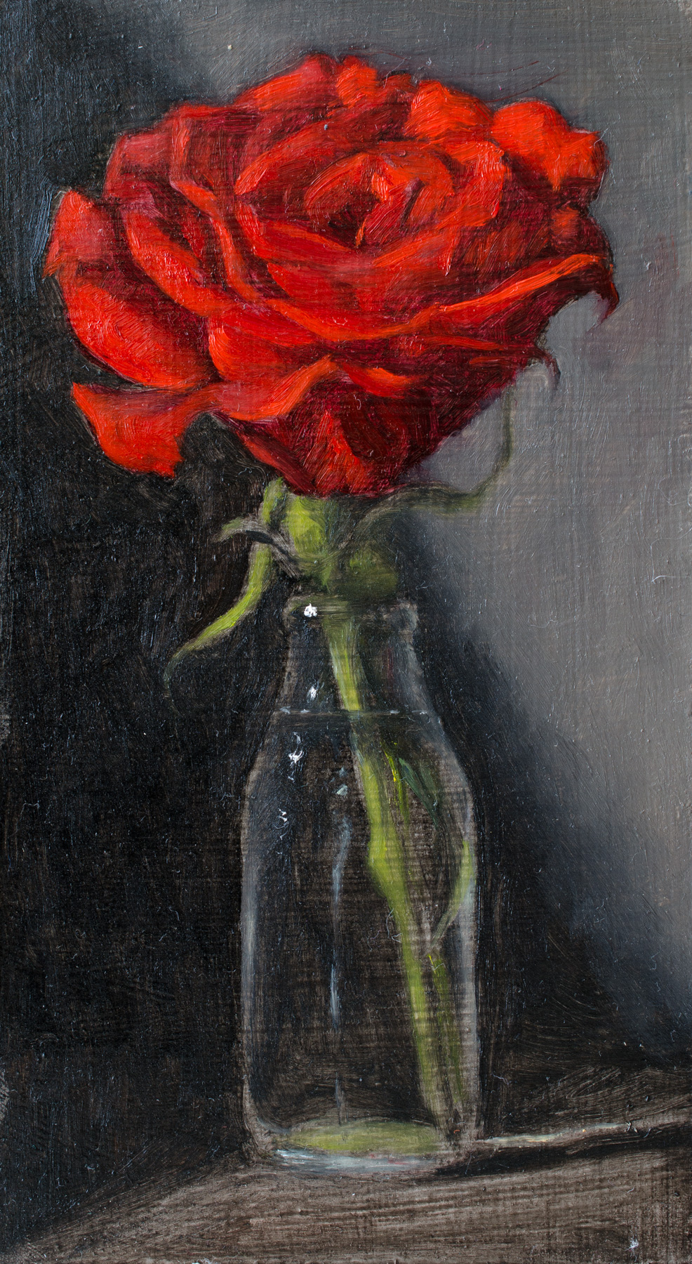 """Unfolding Rose"" oil on wood panel, 4x7''"