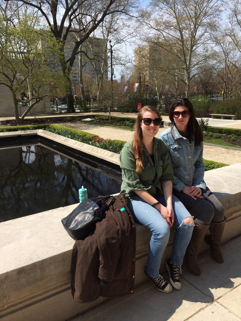 Sisters in Rodin's garden...