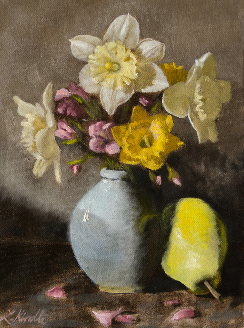 "Lauren Kindle ""Daffodils"" oil on canvas, 9x12"""
