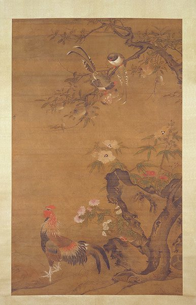 Lu Ji     Pomegranates, Autumn Mallows, Chrysanthemums,     Blue Magpies and Rooste r (last quarter 15th century)