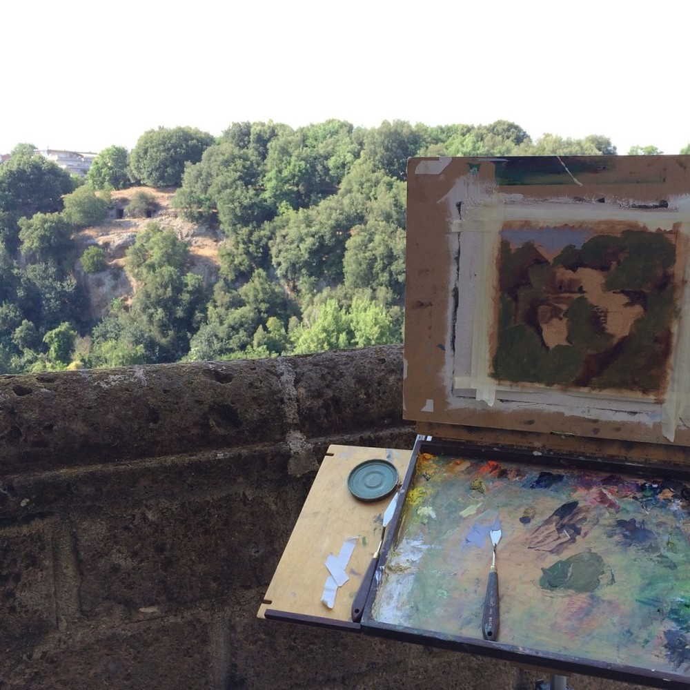 A landscape-in-progress in Civita, Italy.  I assume this is Antrese Wood's painting.  I found this photograph on her Savvy Painter webiste, relating to the  JSS in Civita  podcast.