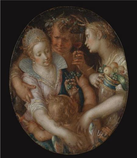 Bacchus Between Ceres and Venus, by Joachim Wtewael