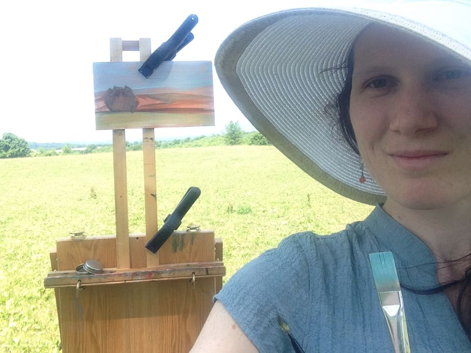 Here I am on my first plein air adventure of the summer.  I found this great vista at  Stoney Ridge Horse Farm  in Bangor, PA.  Thanks to my good friend Berry for babysitting my kids this particular day!  Friends are the best!!!