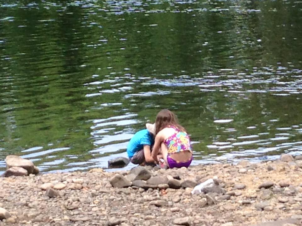 Later, my family came to join me.  The kids played with the rocks by the river, skipping stones.  But, I'll be honest, they weren't always this cool or happy.  In general, 2 hours was the maximum amount of time they would tolerate me painting.  Good enough, I'll take it!