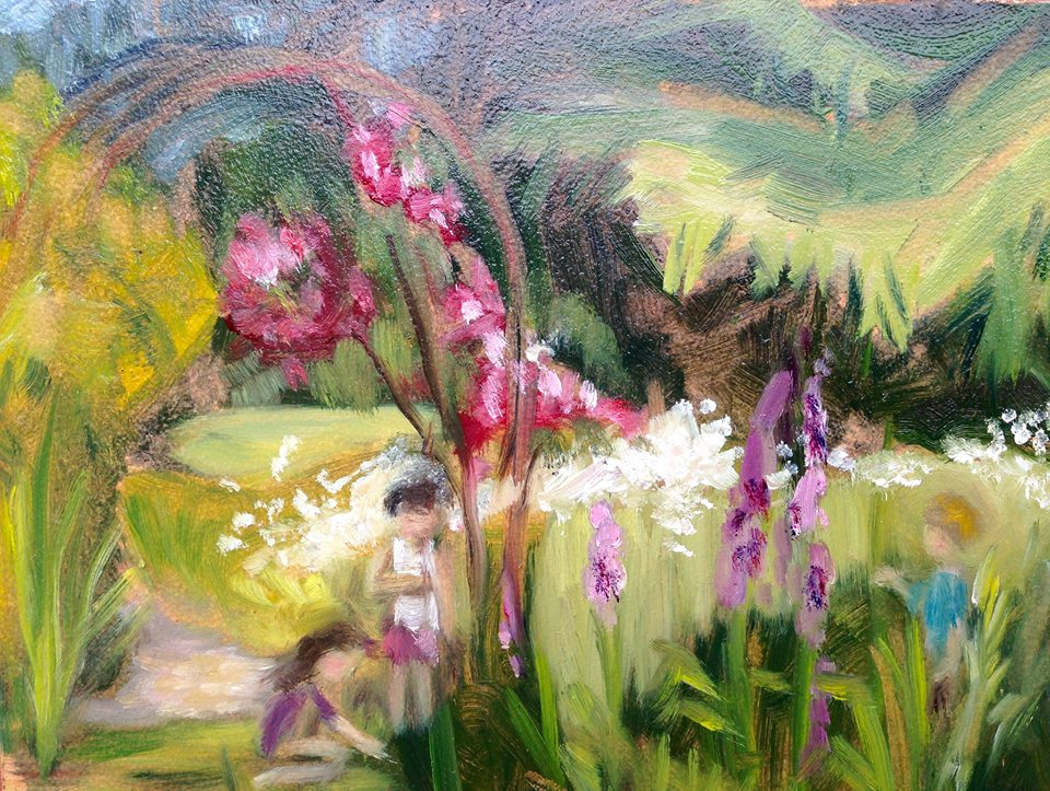 """Children in the Garden"" oil on board, 5x7"" SOLD"