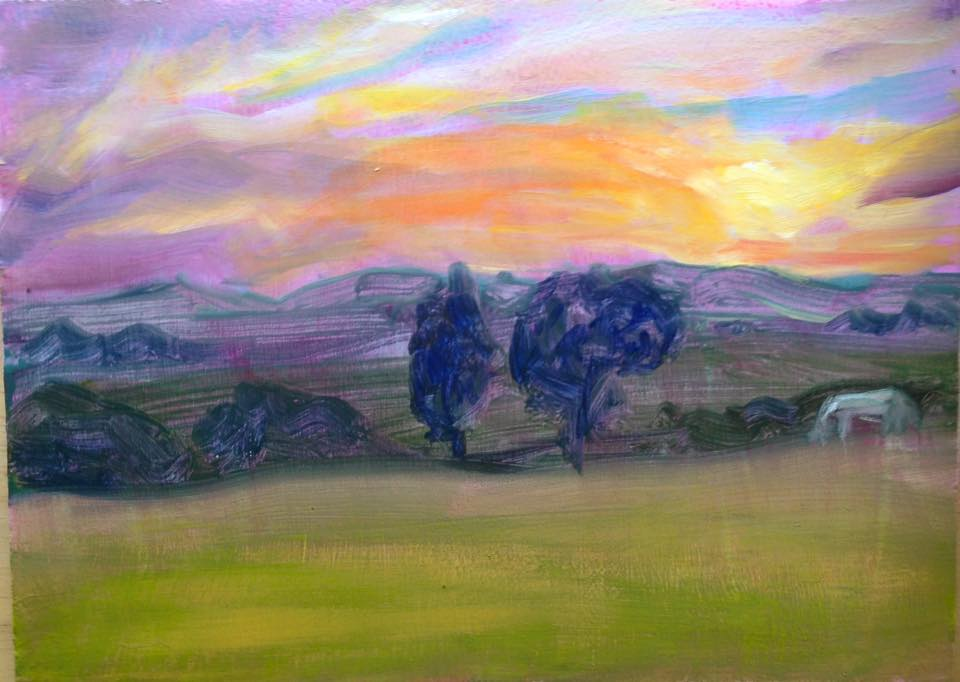 """Sunset and a White Horse"" 5x7"" oil on board SOLD"