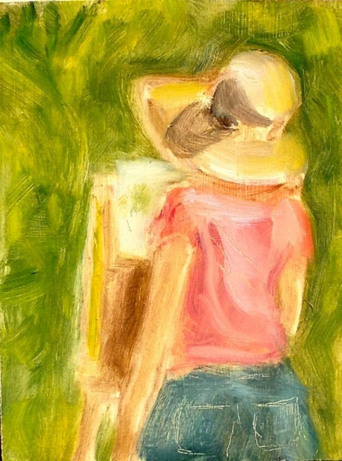 """Woman Painting Outdoors"" a sketch of Adrienne at her easel, 4x5"""