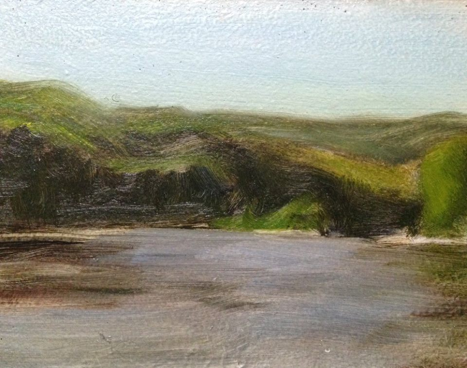 """The River Near Mueller's"" 4x5""  A typical 4x5"" sketch of the river.  I did a lot of these little tiny sketches.  Partially this is due to the stress of working with kids around, and not wanting to commit to something big in case I have to stop too soon.  But also, I'm really fearful of painting large landscapes, so that's something I'd like to overcome in the future."