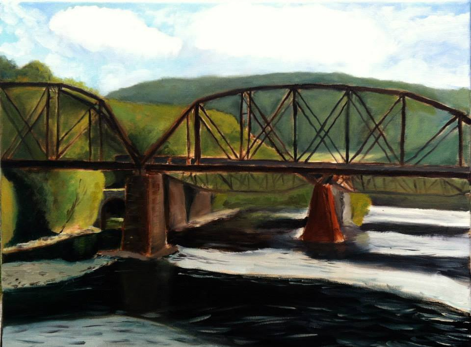 """Train Trestle over the Delaware"" 16x20""  (From the private collection of Bonnie and Toby Tobin)"