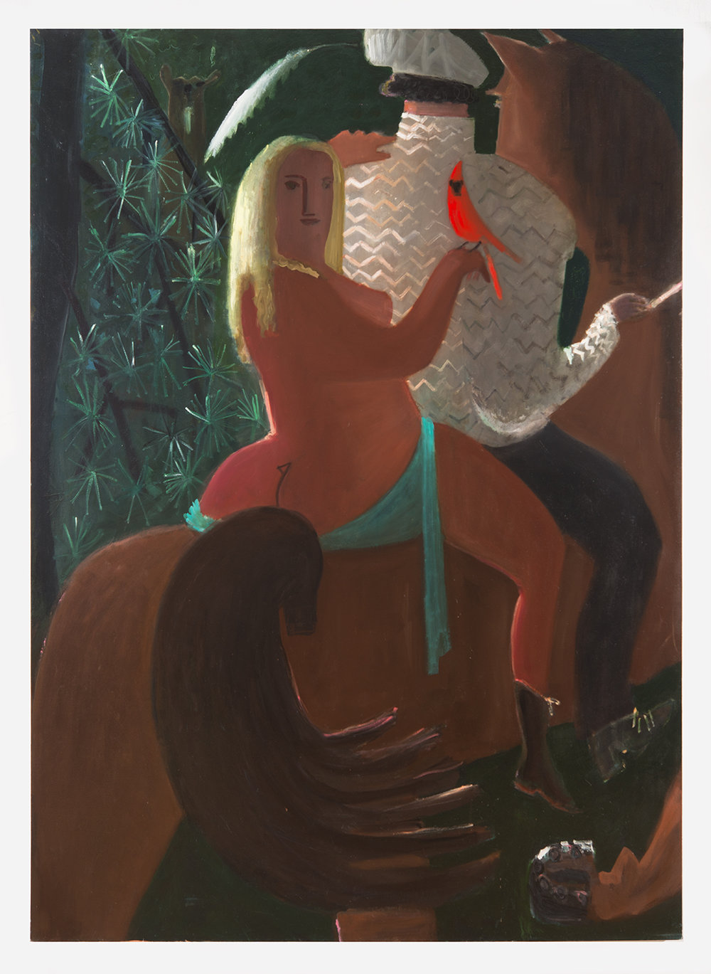"""""""Cardinal"""" oil on canvas, 50x58"""""""