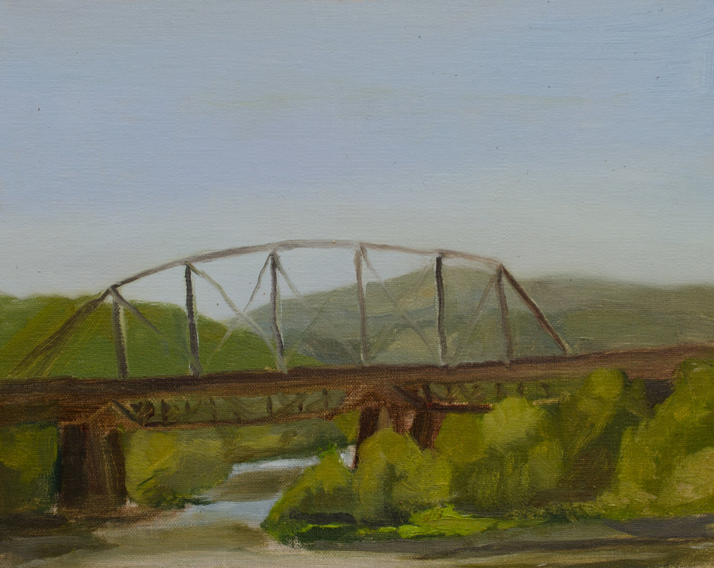"""Train Trestle over the Delaware"" oil on linen panel, 8x10"" (painted on day 1 of my workshop)"