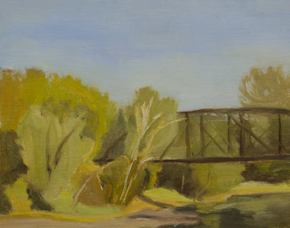 """Afternoon Greens"" oil on linen panel, 8x10"" (painted on day 1 of my workshop)"