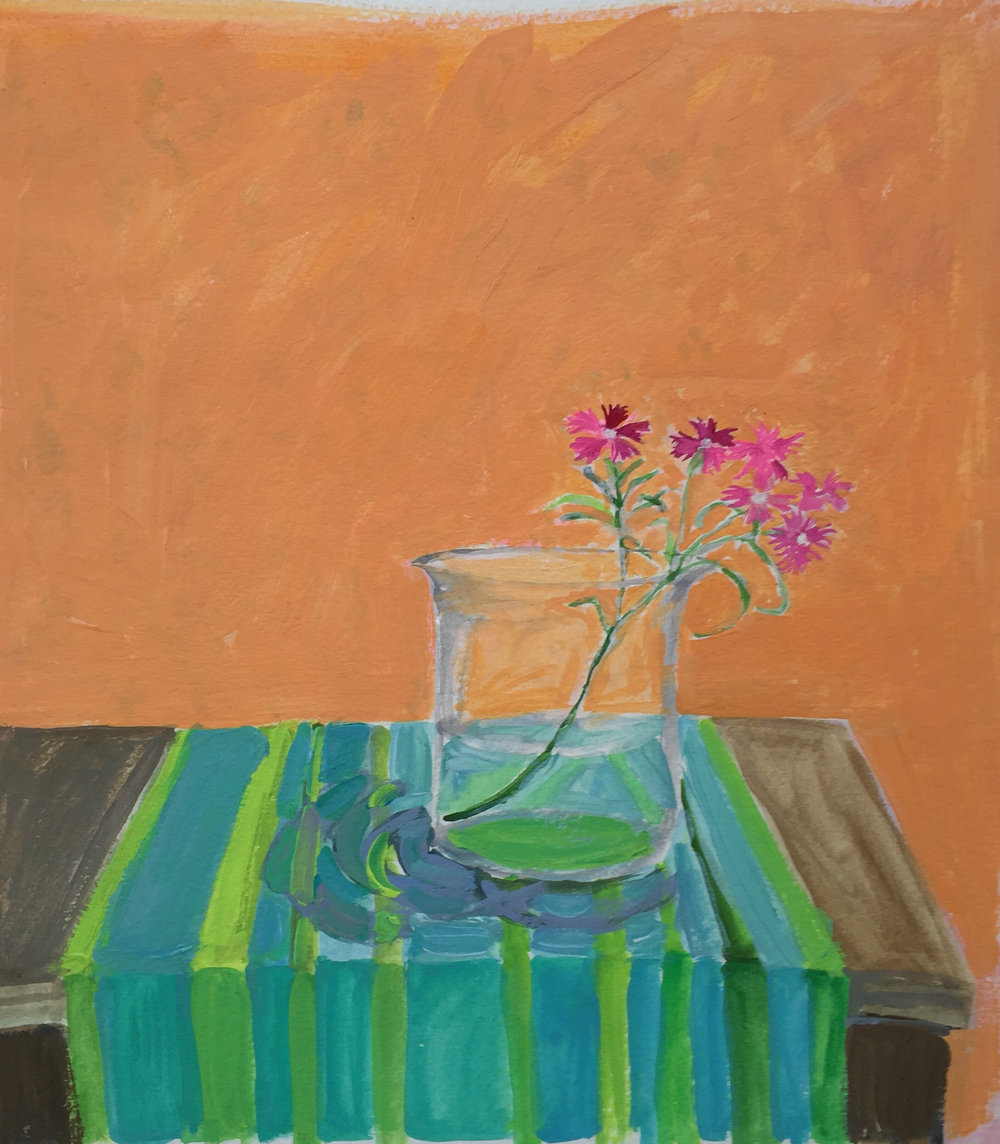 """""""Dianthus in a Glass Beaker"""" gouache on paper by Elizabeth Snelling"""