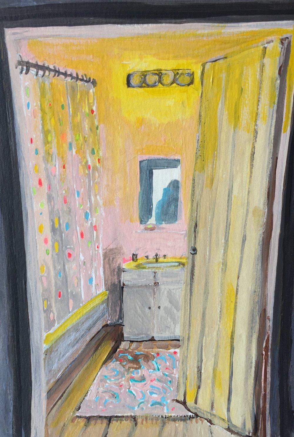 """Polka-Dot Shower Curtain"" by Elizabeth Snelling"