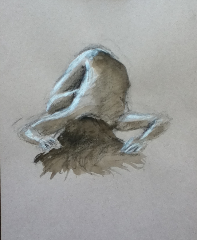 One of my early attempts to draw the figure at the Thursday Night Lafayette Community Figure Drawing.    charcoal and watercolor on paper