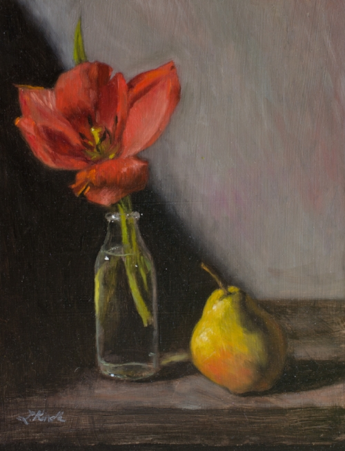 """Wind-ravaged tulip"" oil painting by Lauren Kindle (the painting that helped inspire the poem)"