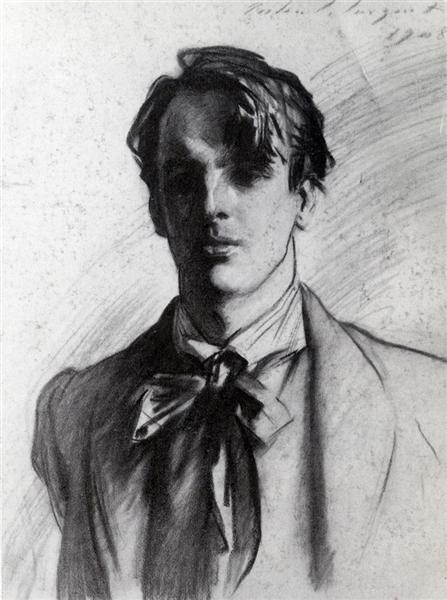 Charcoal portrait of the poet W.B. Yeats, by  John Singer Sargent