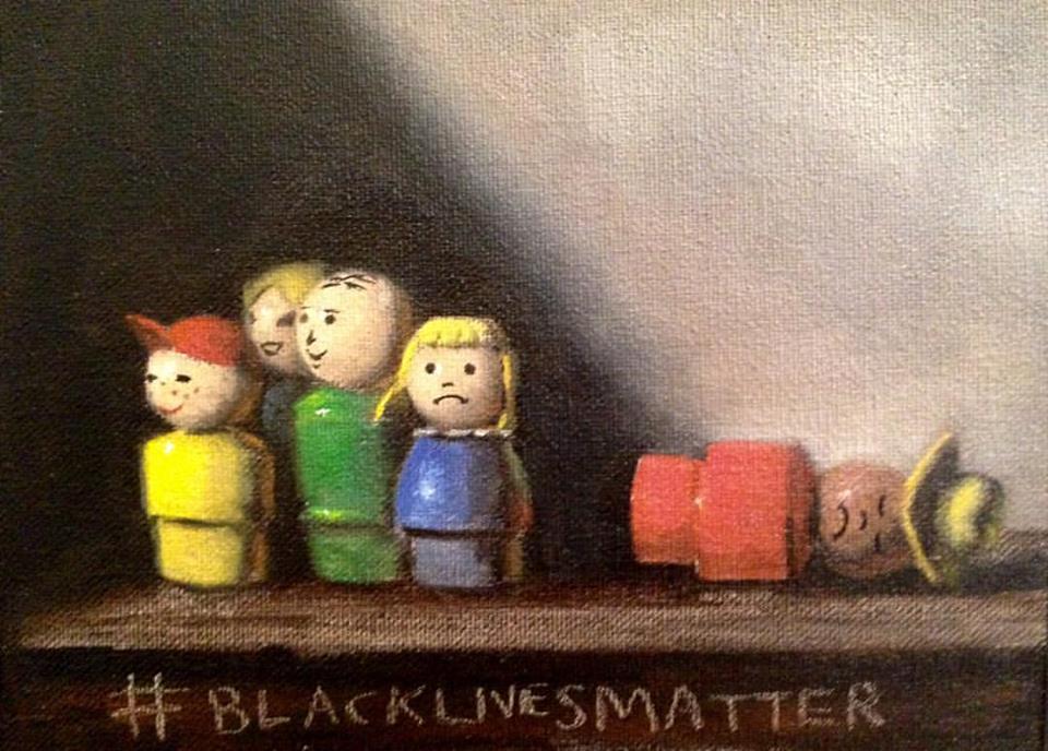 "#blacklives matter 2, oil on canvas mounted on board, 5x7"" commissioned by Carol Reed (guest blog-post contributor!)"