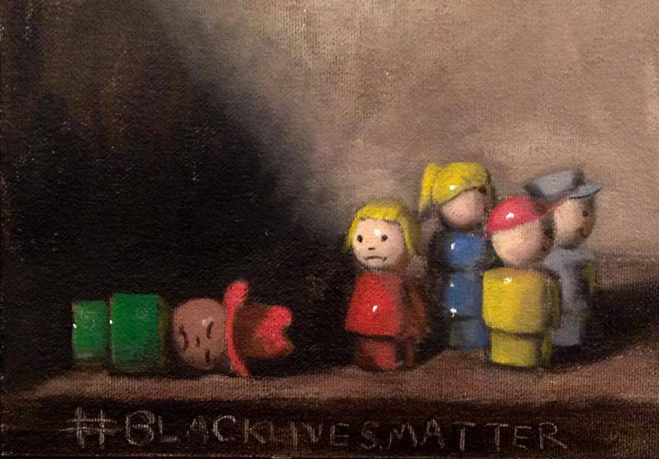 "blacklivesmatter 5, oil on canvas, 5x7"", from the collection of Audrey Kantner, a children's librarian at the  Easton Area Public Library."