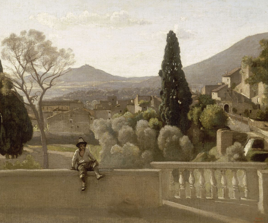 The Gardens of the Villa d'Este, Tivoli painting by Corot, which Berthe Morisot copied