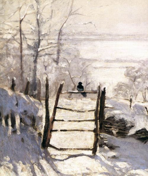 "my favorite detail from "" The Magpie ,"" which is my favorite painting by Monet"