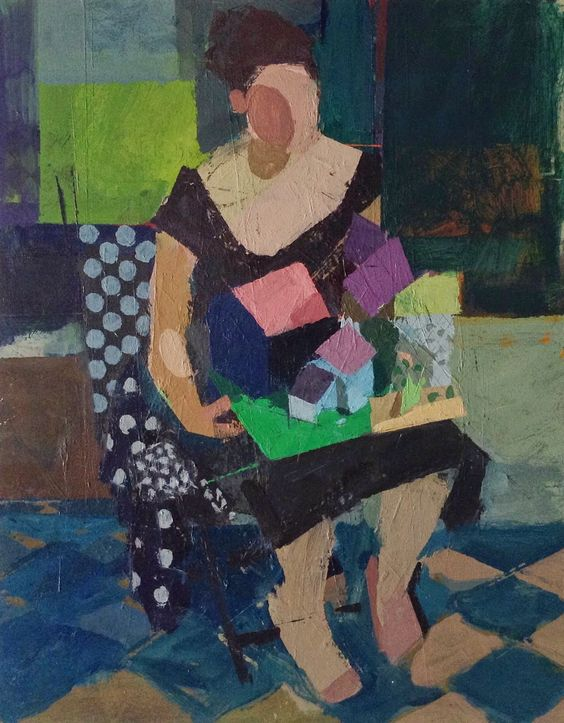 seated woman with landscape. 14 x 11 inches, acrylic on wood panel