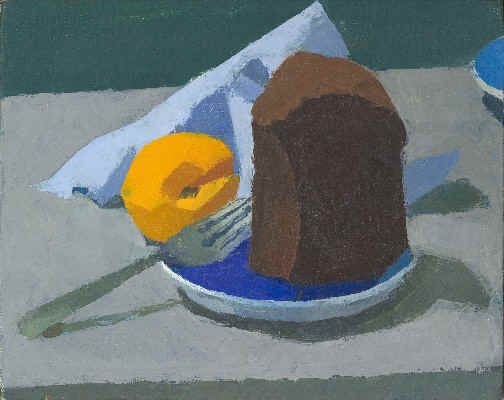 """""""Chocolate Cake with Apricot"""" by Ken Kewley, oil on panel"""