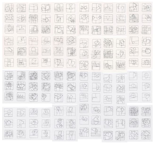 """These are some of Ken's drawings: """"viola  études"""" 144 square inches"""