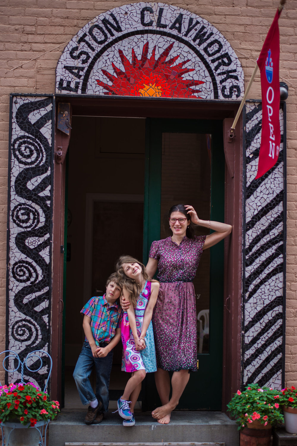 My kids and me hanging out on the front steps of my new studio, photo credit:  EH photography .