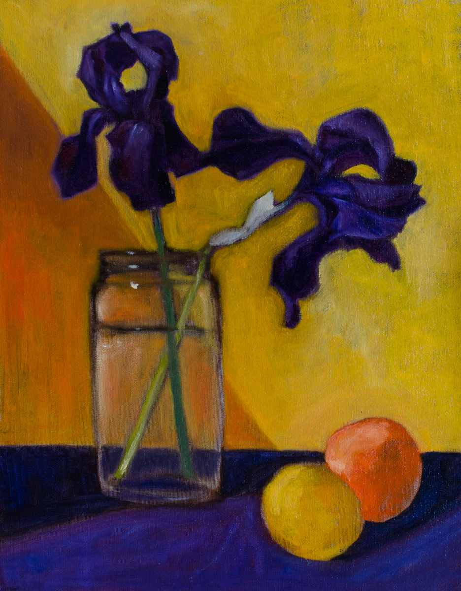 """Irises and Apricots"" oil on canvas mounted on board, 11x14"" from the collection of  Rachel Engh"